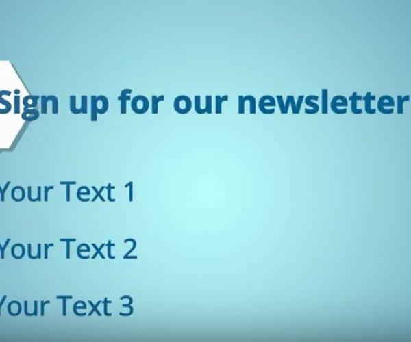 This newsletter sign-up outro offers a bold Call To Action plus 3 customizable text areas